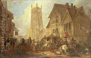 Cirencester-Market-Place,-With-The-Abbey-And-The-King$27s-Head-Hotel-In-1642-The-First-Bloodshed-Of-The-Civil-War